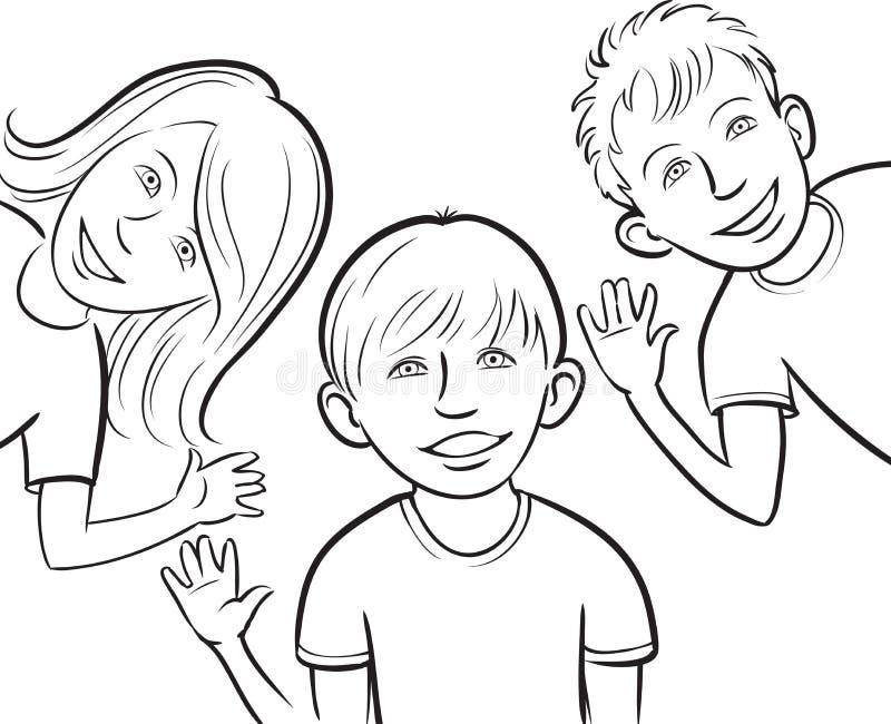 Dibujo de Whiteboard - niños sonrientes stock de ilustración