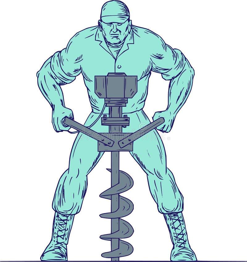 Dibujo del agujero de Earth Auger Boring del trabajador de construcción ilustración del vector