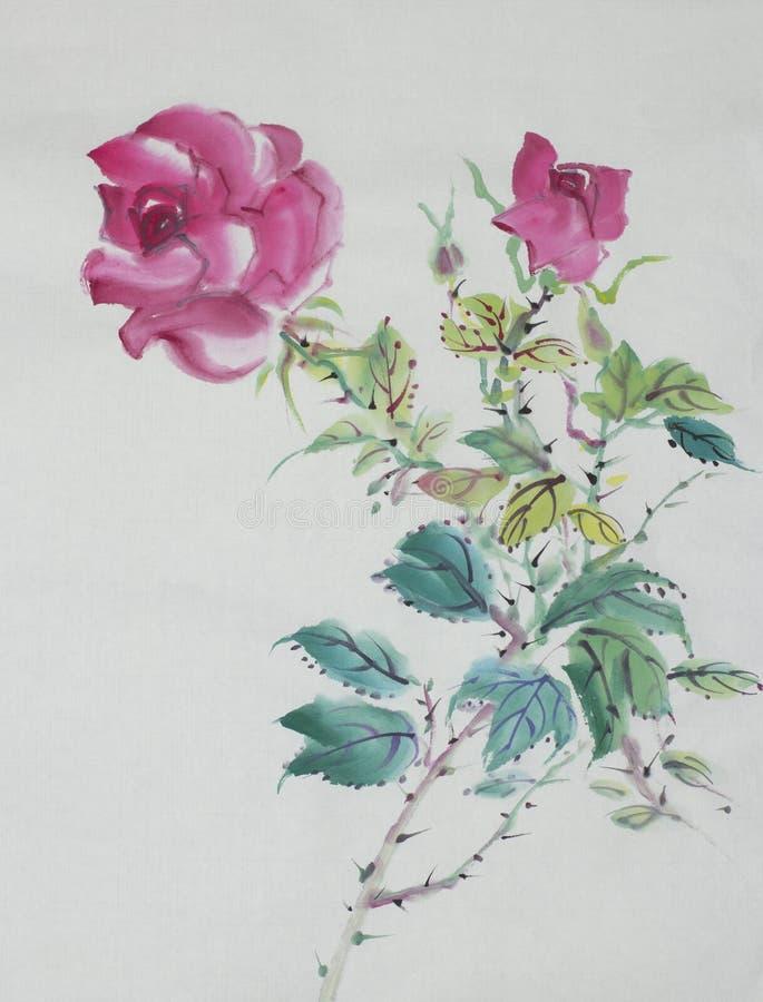 Dibujo del arbusto color de rosa stock de ilustración