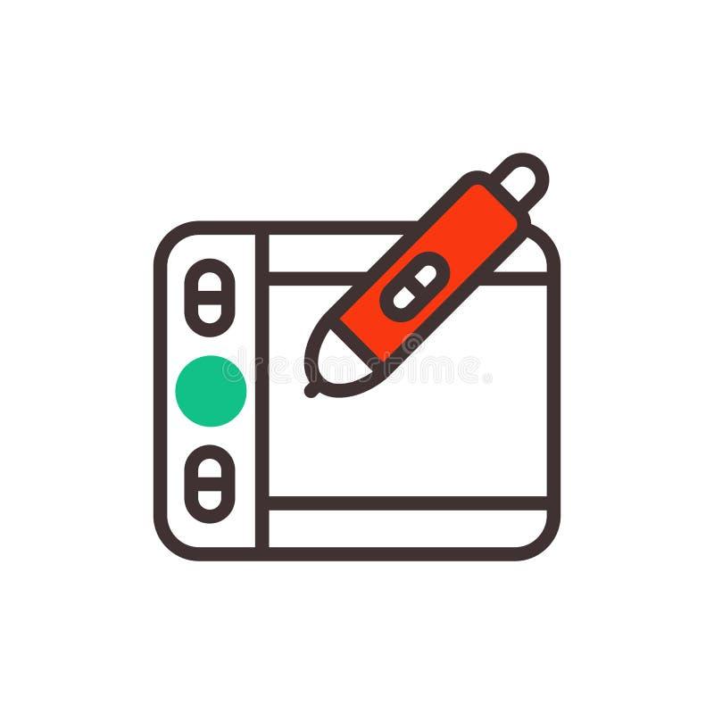 Dibujo del arte del negocio del diseñador del ejemplo del vector de la tableta de gráficos aislado en el estilo blanco del fondo  libre illustration