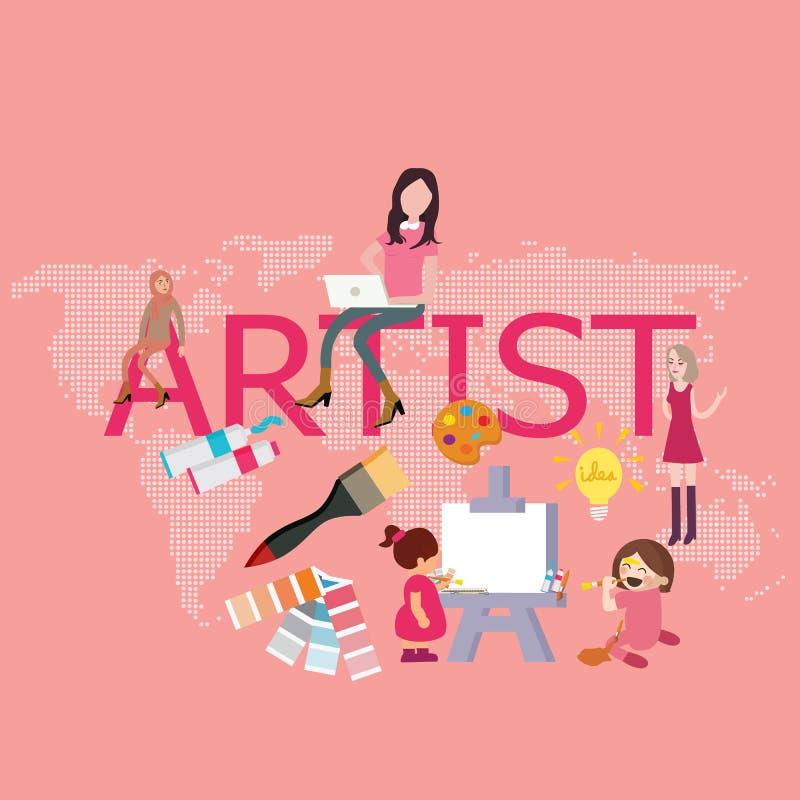 Dibujo del artista puesto que los niños hacen pintura del diseñador gráfico stock de ilustración