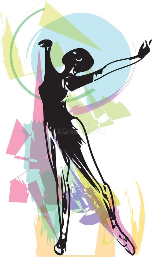 Dibujo del baile abstracto de la bailarina ilustración del vector