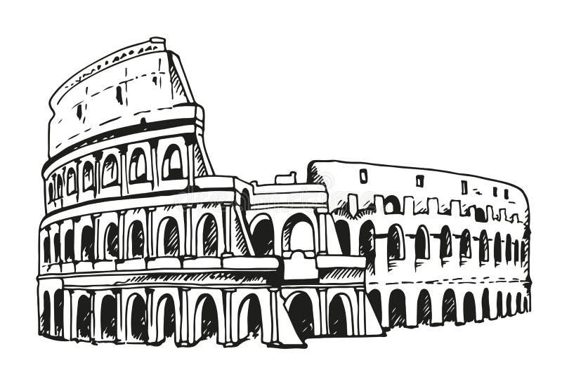Dibujo del coliseo, ejemplo de Colosseum en Roma, Italia ilustración del vector