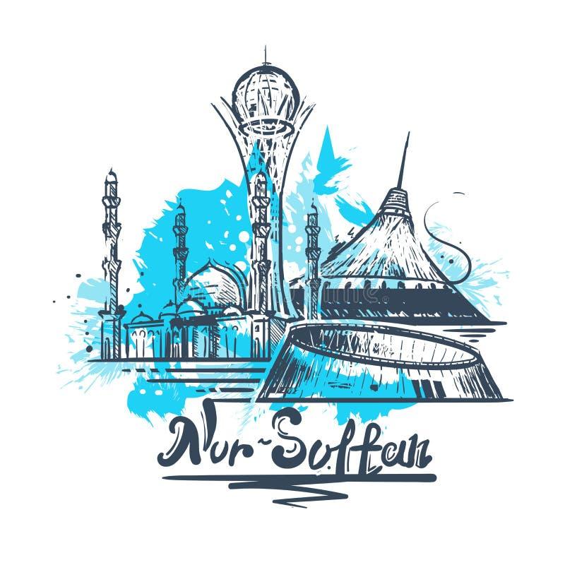 Dibujo del color del extracto del Nur-sultán Ejemplo del vector del bosquejo de Astaná ilustración del vector
