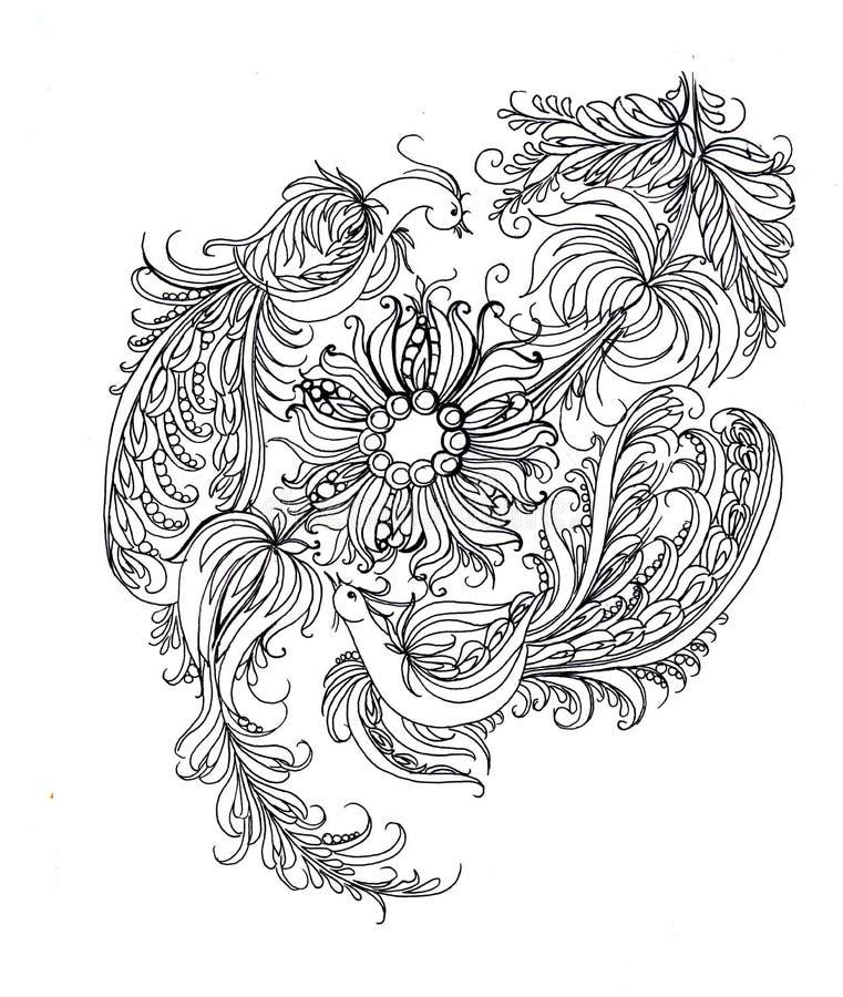 Dibujo Del Contorno Colorante Pintura De Petrikovskaya Imagen de ...