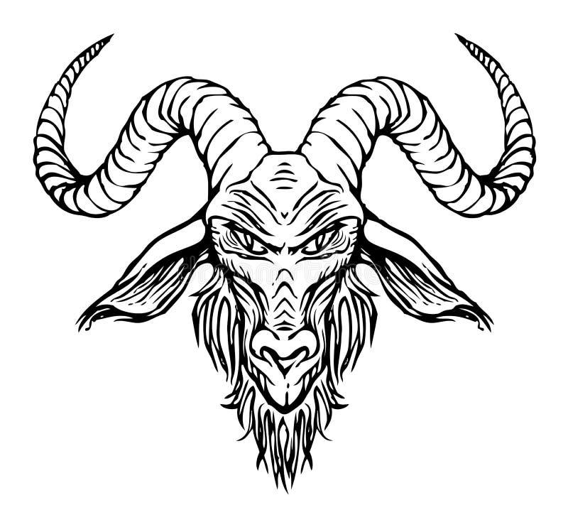 Dibujo del contorno del vector de la cabeza de cuernos de la cabra libre illustration
