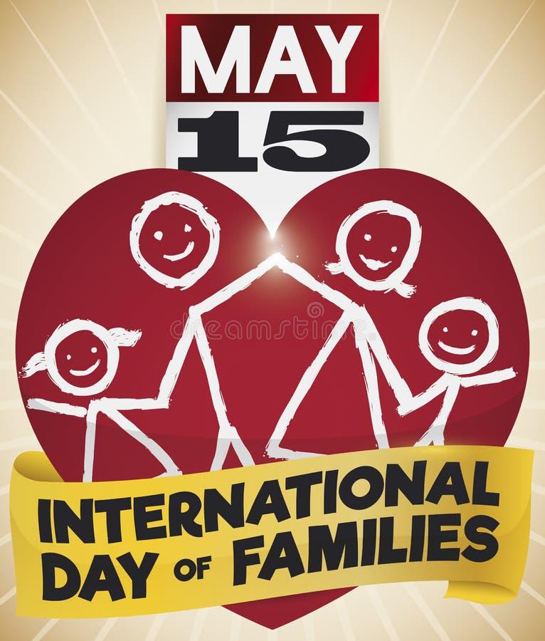 Dibujo del corazón, del calendario, de la cinta y de la familia para el día de familias, ejemplo del vector libre illustration