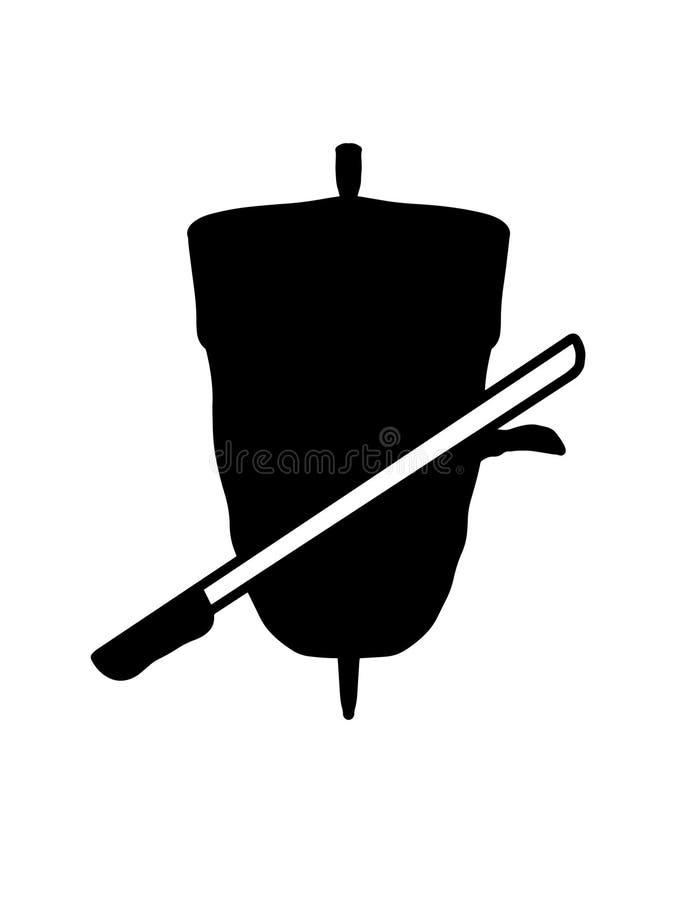 dibujo del ejemplo de la historieta del doner del kebab y ejemplo blanco de la historieta del fondo del cuchillo stock de ilustración