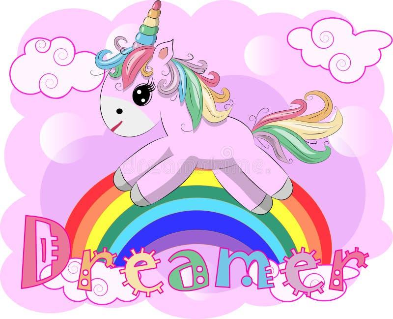 Dibujo del ejemplo del vector del unicornio con el soñador de la escritura del arco iris Unicornio \ 'historieta de la cabeza de  stock de ilustración