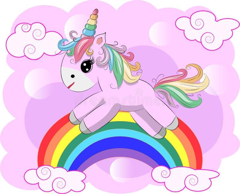 Dibujo del ejemplo del vector del unicornio con el soñador de la escritura del arco iris Unicornio \ 'historieta de la cabeza de  libre illustration