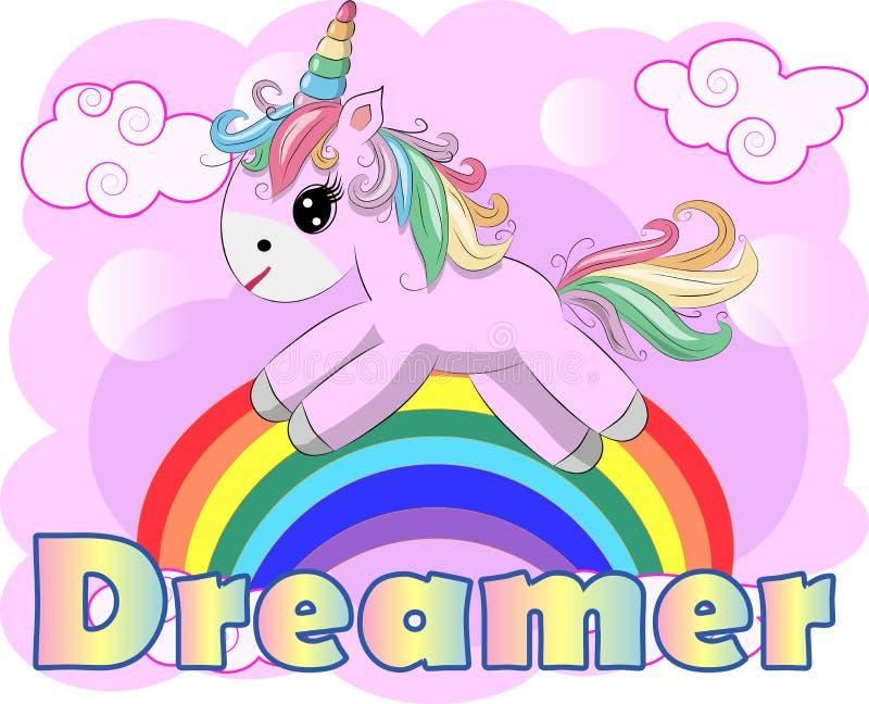 Dibujo del ejemplo del vector del unicornio con el soñador de la escritura del arco iris Unicornio \ 'historieta de la cabeza de  ilustración del vector