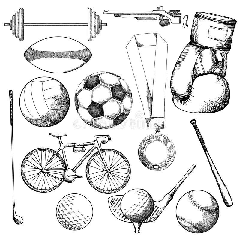 Dibujo Del Elemento Del Deporte Ilustracion Del Vector Ilustracion De Bosquejo Juego 74598753