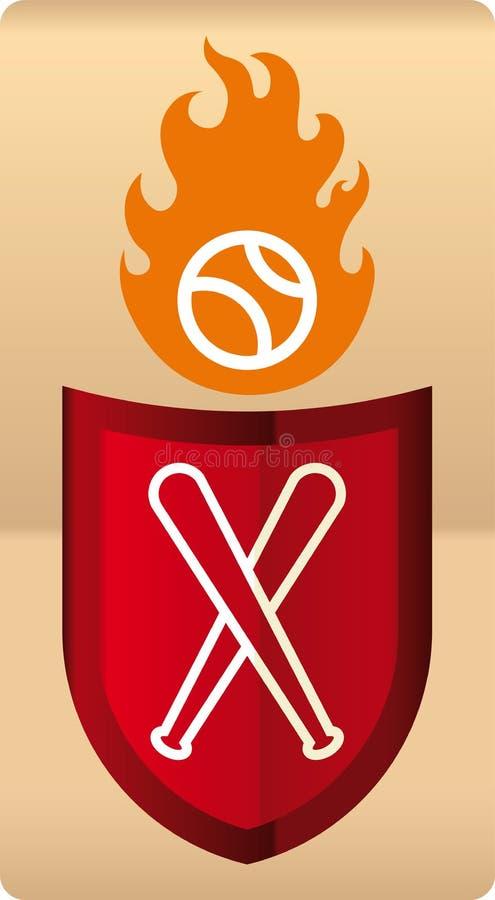 Dibujo del escudo brillante del béisbol con la bola en llamas ilustración del vector