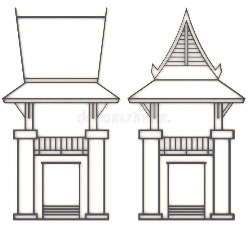 dibujo del evelation 3D del pabellón o del templo asiático suroriental stock de ilustración