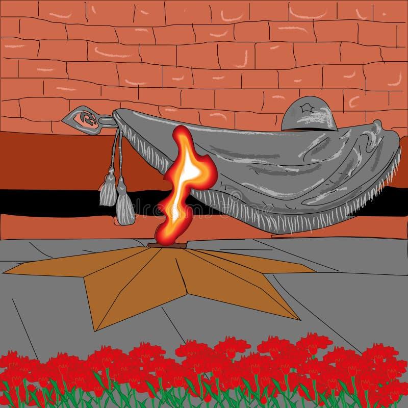 Dibujo del fondo para la memoria del día de la victoria del día de fiesta de soldados stock de ilustración