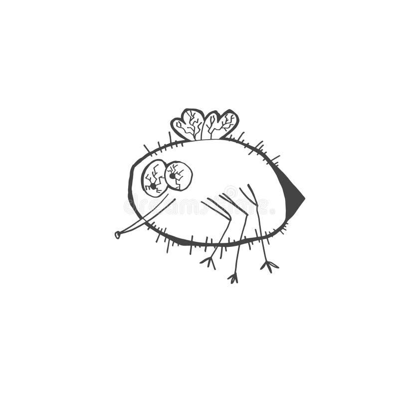 Dibujo del garabato del bosquejo del insecto extraño y divertido del mosquito o de la pulga ilustración del vector