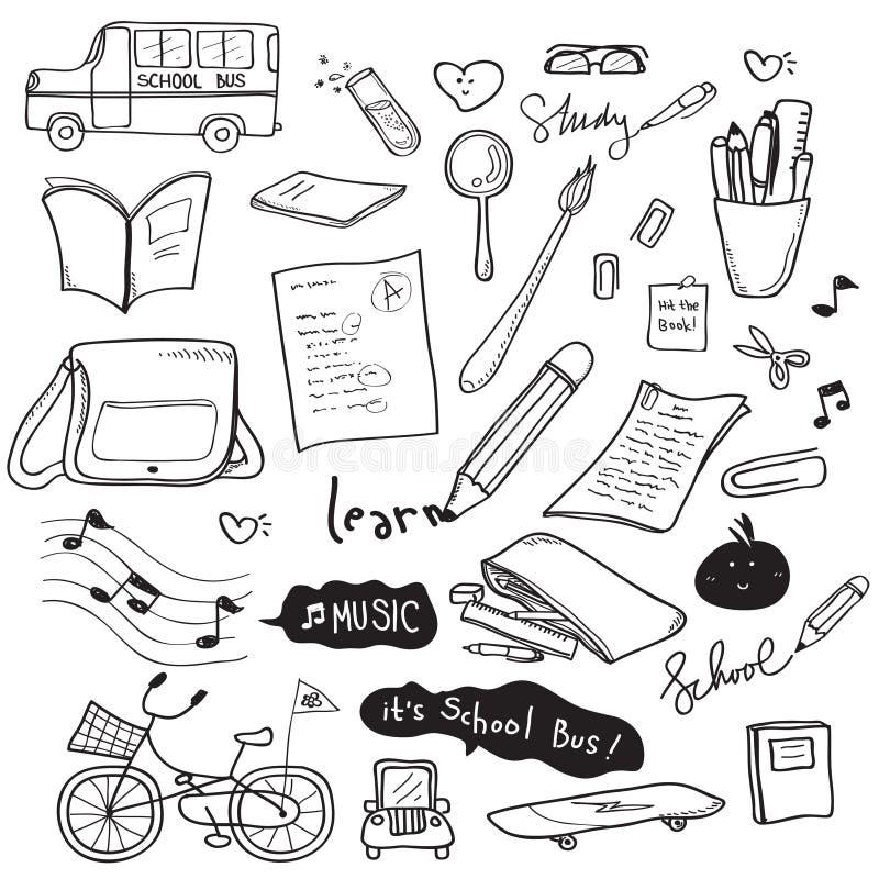 Dibujo del garabato de la escuela ilustración del vector