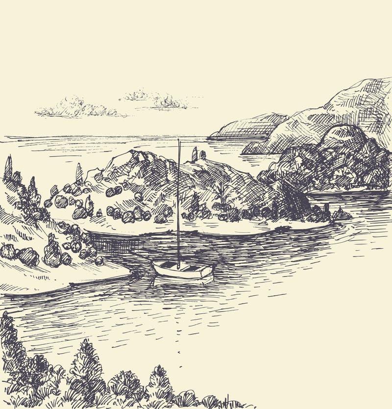 Dibujo del golfo, visión superior stock de ilustración
