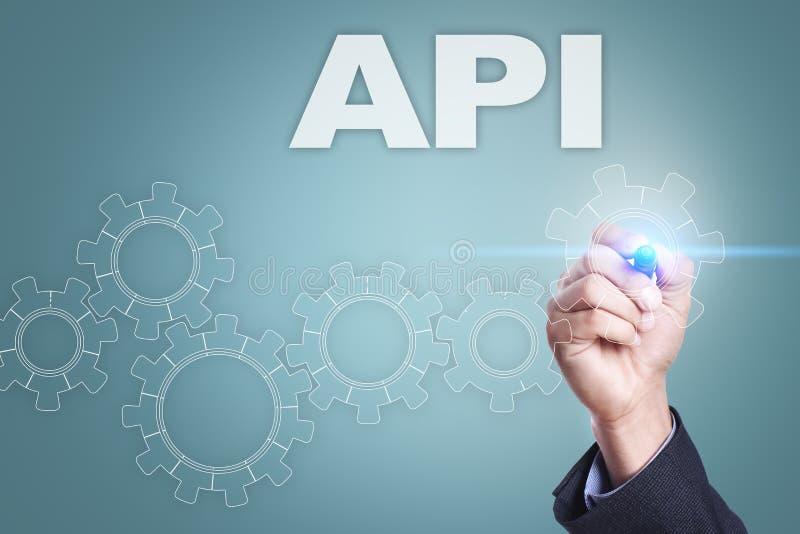 Dibujo del hombre de negocios en la pantalla virtual Concepto del API ilustración del vector