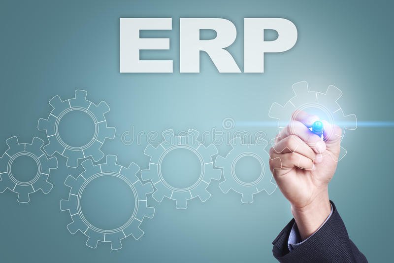 Dibujo del hombre de negocios en la pantalla virtual Concepto del ERP libre illustration