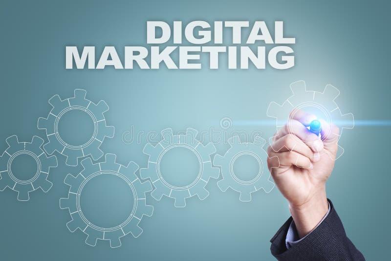 Dibujo del hombre de negocios en la pantalla virtual Concepto del márketing de Digitaces ilustración del vector