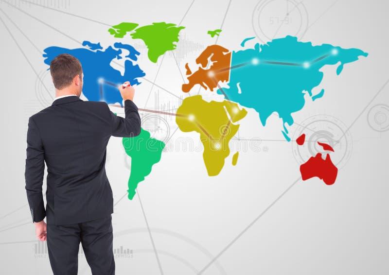 Dibujo del hombre de negocios en mapa colorido con el fondo del conector imágenes de archivo libres de regalías