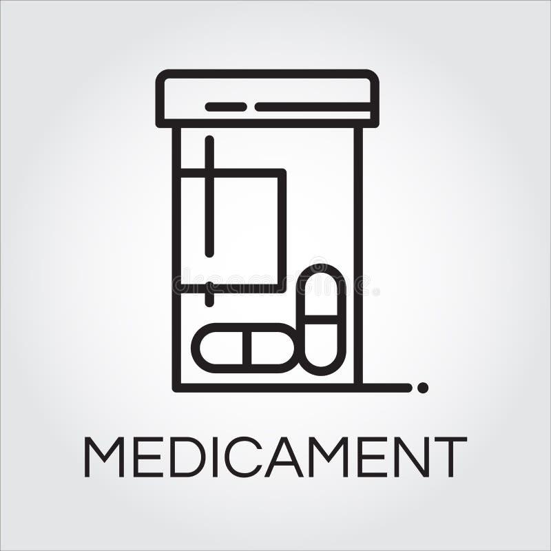 Dibujo del icono del negro del medicamento de la atención sanitaria en estilo del esquema libre illustration