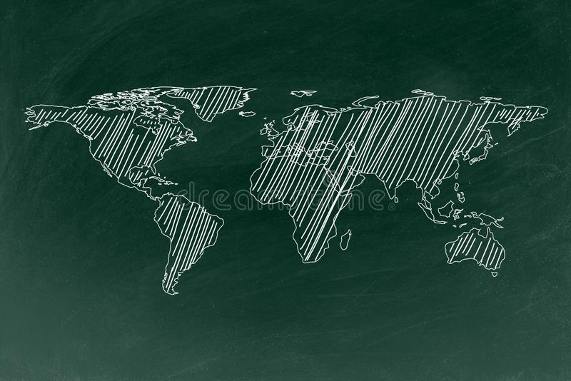 Dibujo del mapa del mundo en fondo de la textura de la pizarra stock de ilustración