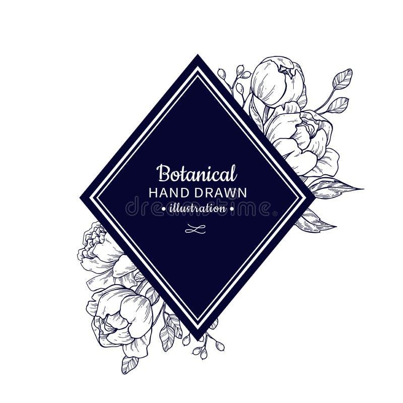 Dibujo del marco del vector de la flor del vintage Peonía, rosa, hojas y azufaifas libre illustration