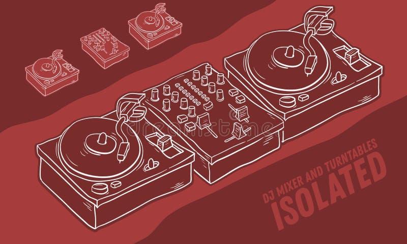Dibujo del mezclador y de las placas giratorias de los sonidos del equipo de audio de DJ aislado Línea incompleta dibujada mano a libre illustration
