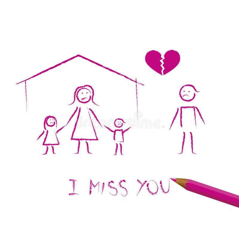 Dibujo del niño del concepto del divorcio de la familia libre illustration