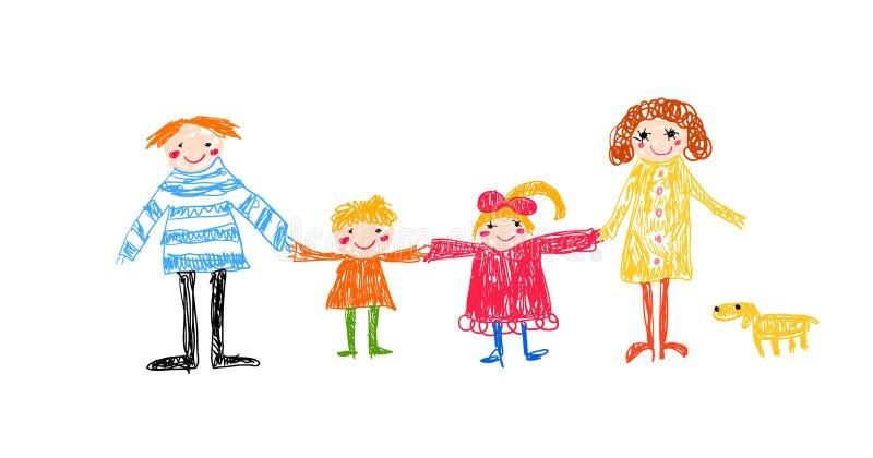 Dibujo del niño de la familia libre illustration
