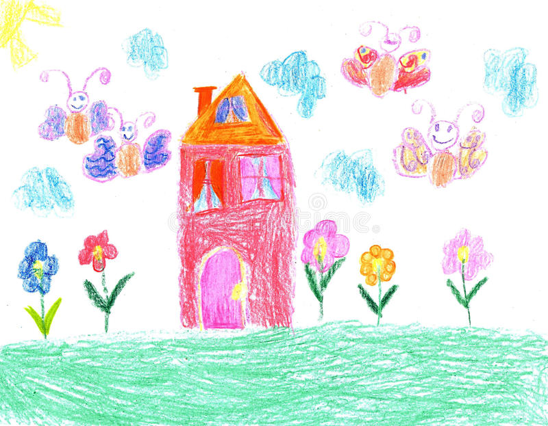 Dibujo del niño de una casa ilustración del vector