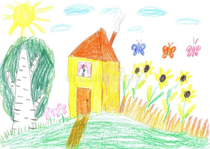 Dibujo del niño de una casa stock de ilustración