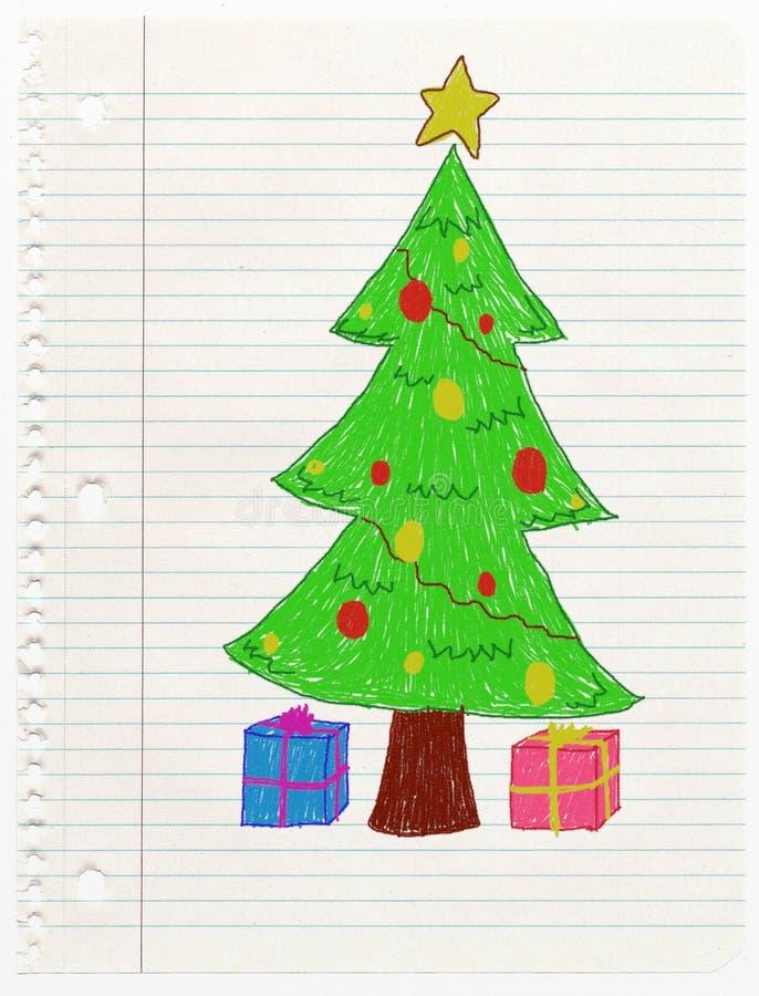 Dibujo del niño del árbol de la Navidad libre illustration