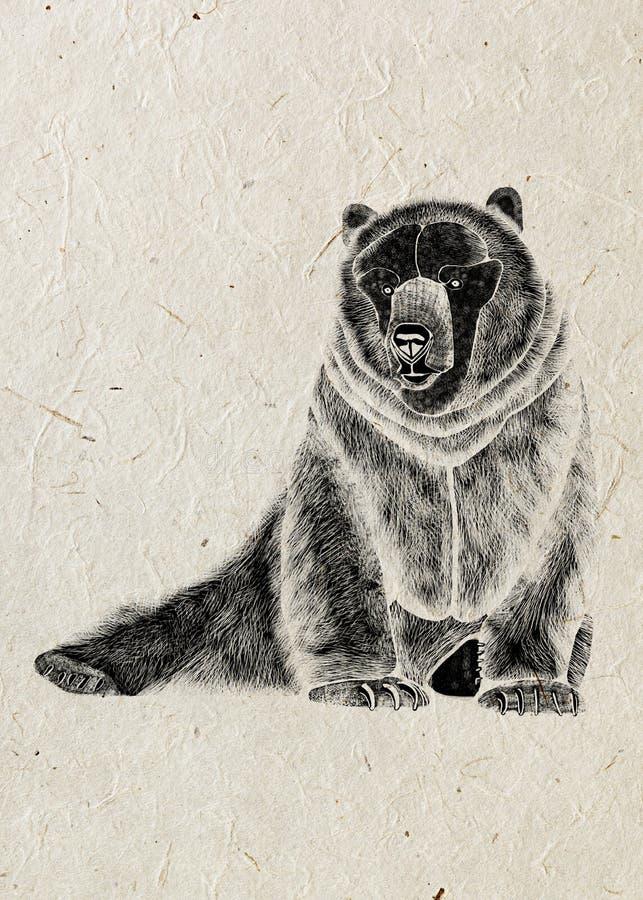 Dibujo del oso temible sedentario, silueta negra en fondo beige del papel de arroz libre illustration