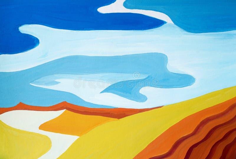 Dibujo del paisaje egipcio brillante del desierto, arena amarilla libre illustration