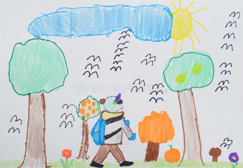 Dibujo del ` s de los niños: un muchacho con un bolso pasa a la escuela a través del parque del otoño De nuevo a concepto de la e imagen de archivo libre de regalías