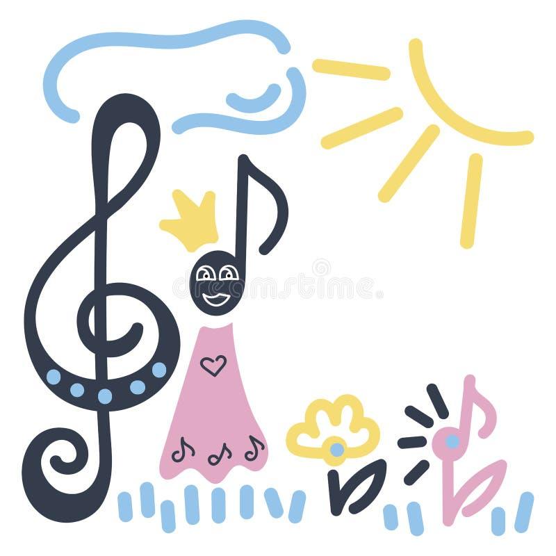 Dibujo del ` s de los ni?os Reina de la nota musical, clave de sol, sol, flores ilustración del vector