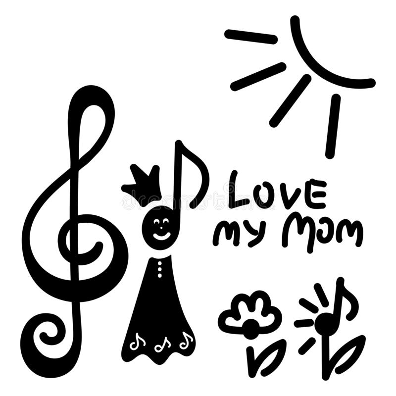 Dibujo del ` s de los ni?os Reina de la nota musical, clave de sol, sol, flores, letras de la mano amar a mi mamá stock de ilustración