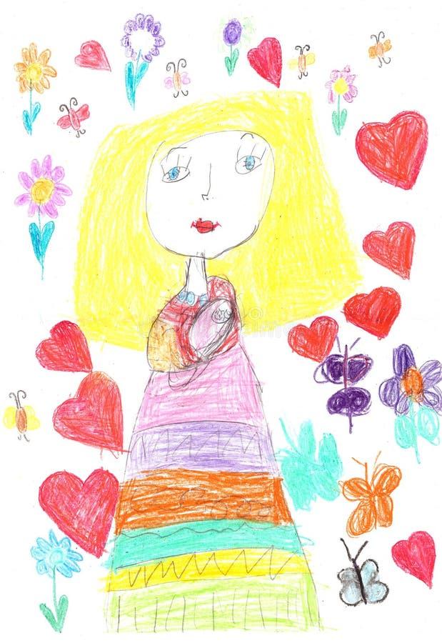 Dibujo del ` s del niño de una familia feliz Sirva de madre al bebé de la explotación agrícola fotografía de archivo
