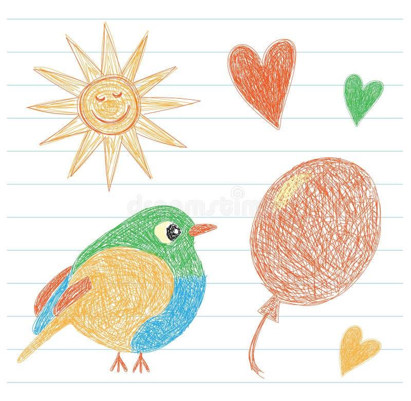 Dibujo del ` s del niño Sun, pájaro, globo y corazón Coloree el lápiz Mano stock de ilustración
