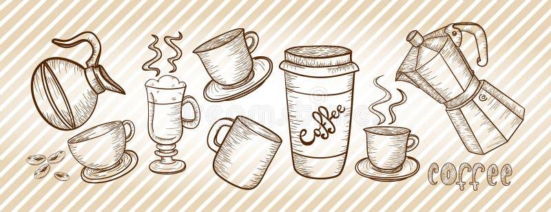 Dibujo del sistema de café ilustración del vector