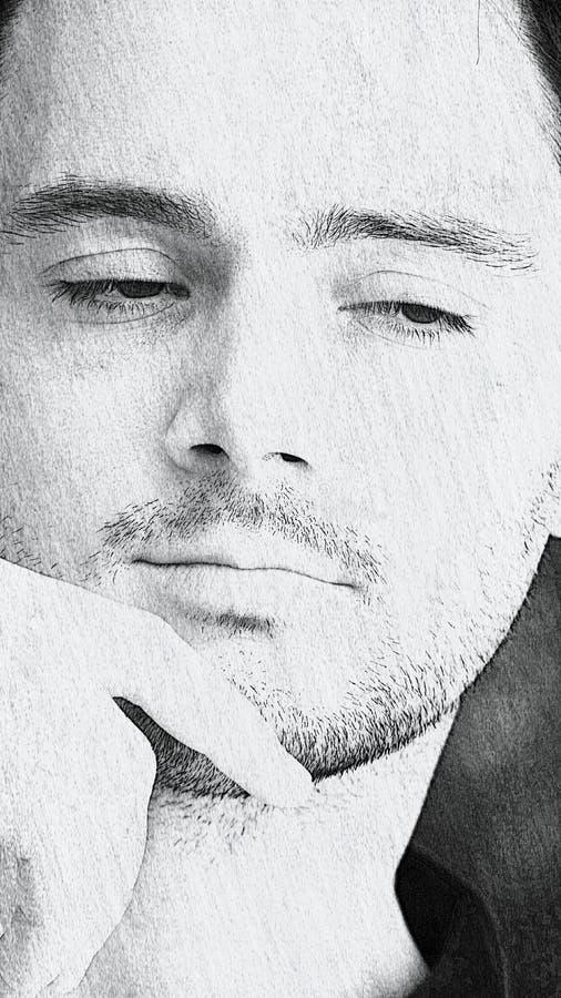 Dibujo del varón italiano sin afeitar fotografía de archivo