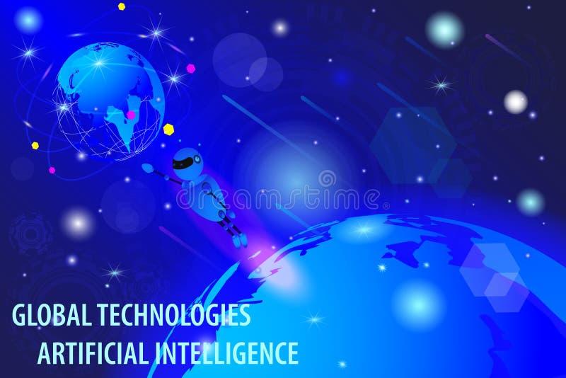 Dibujo del vector, concepto virtual de tecnología cibernética global del mundo ilustración del vector