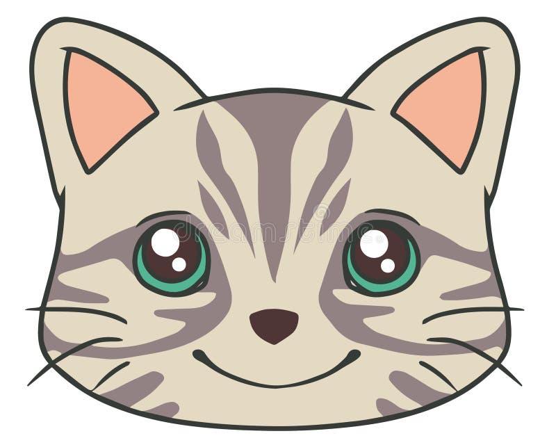 Dibujo del vector de la cara del estilo de la historieta de un gato de gato atigrado gris lindo ilustración del vector