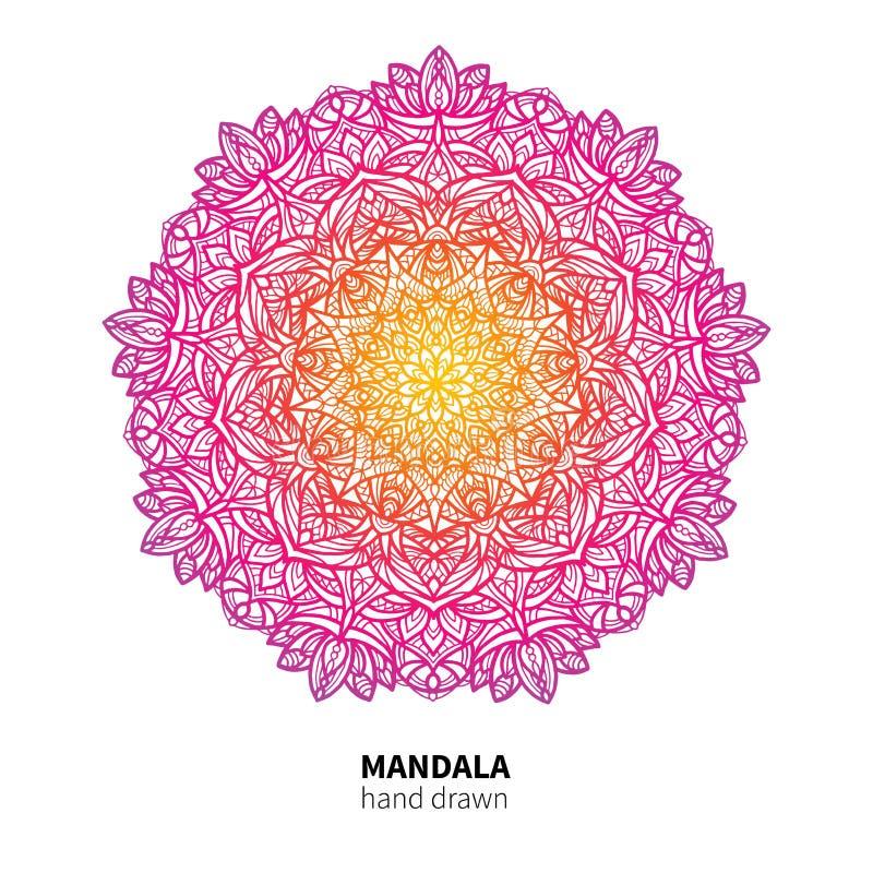 Dibujo del vector de la flor de la mandala Elemento decorativo colorido étnico ilustración del vector