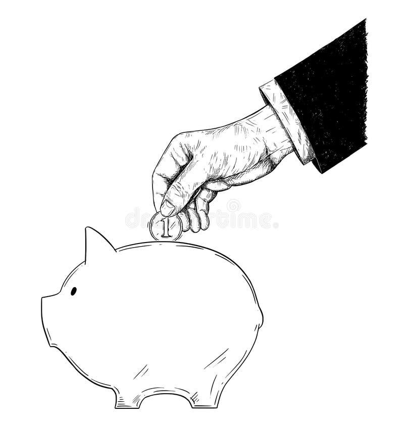 Dibujo del vector de la mano del hombre de negocios en el traje que pone la moneda en la hucha ilustración del vector