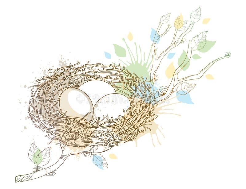 Dibujo del vector de la rama de árbol del esquema con la jerarquía del pájaro con tres huevos en beige en colores pastel aislados libre illustration