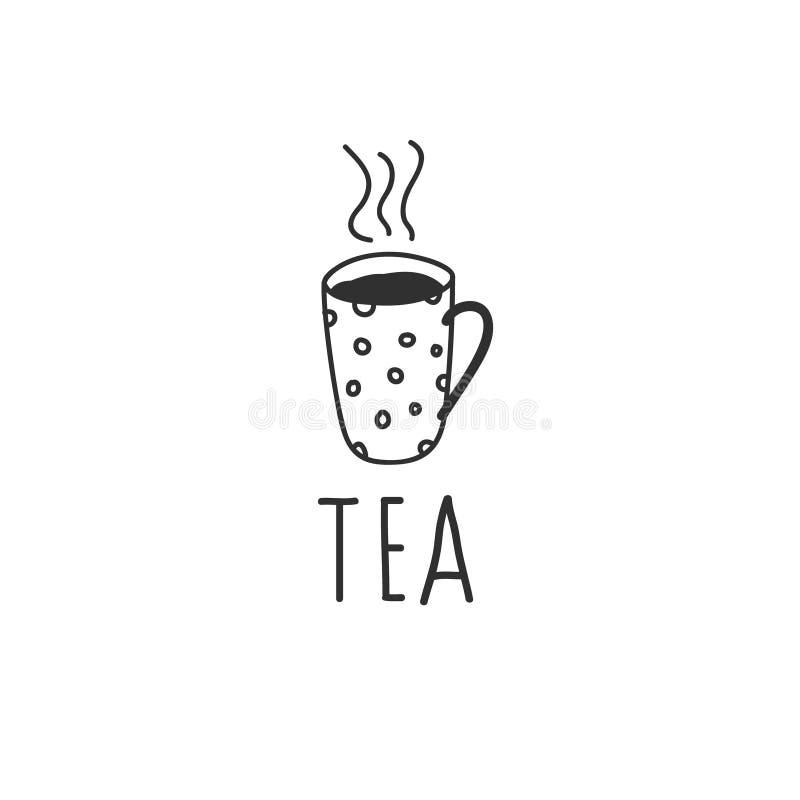 Dibujo del vector de la taza de té en el estilo de un garabato Ejemplo exhausto de la mano blanco y negro con una inscripción ilustración del vector
